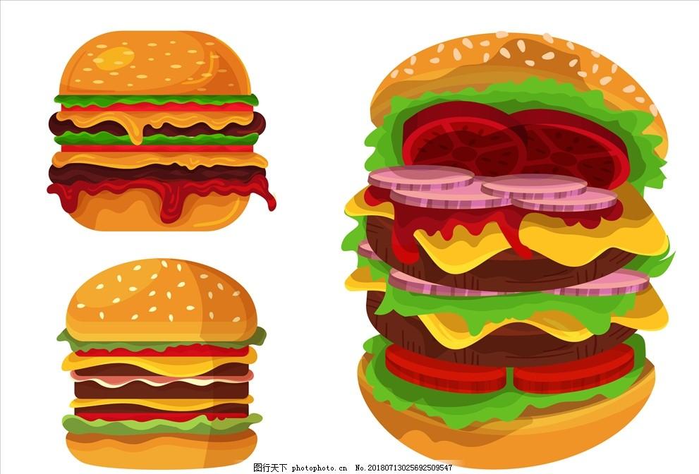 餐饮灯箱片_矢量彩色巨无霸汉堡包图片_餐饮美食_生活百科_图行天下图库