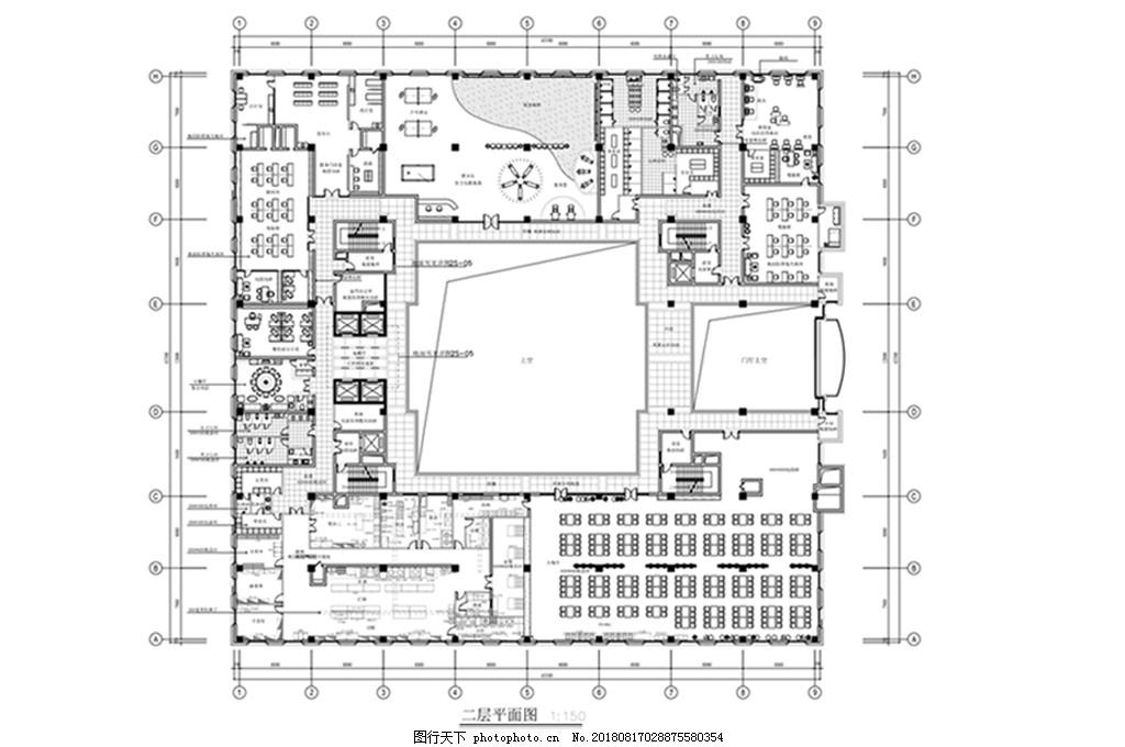 大型规划图片CAD平面办公空间经济型三层别墅建筑设计图图片