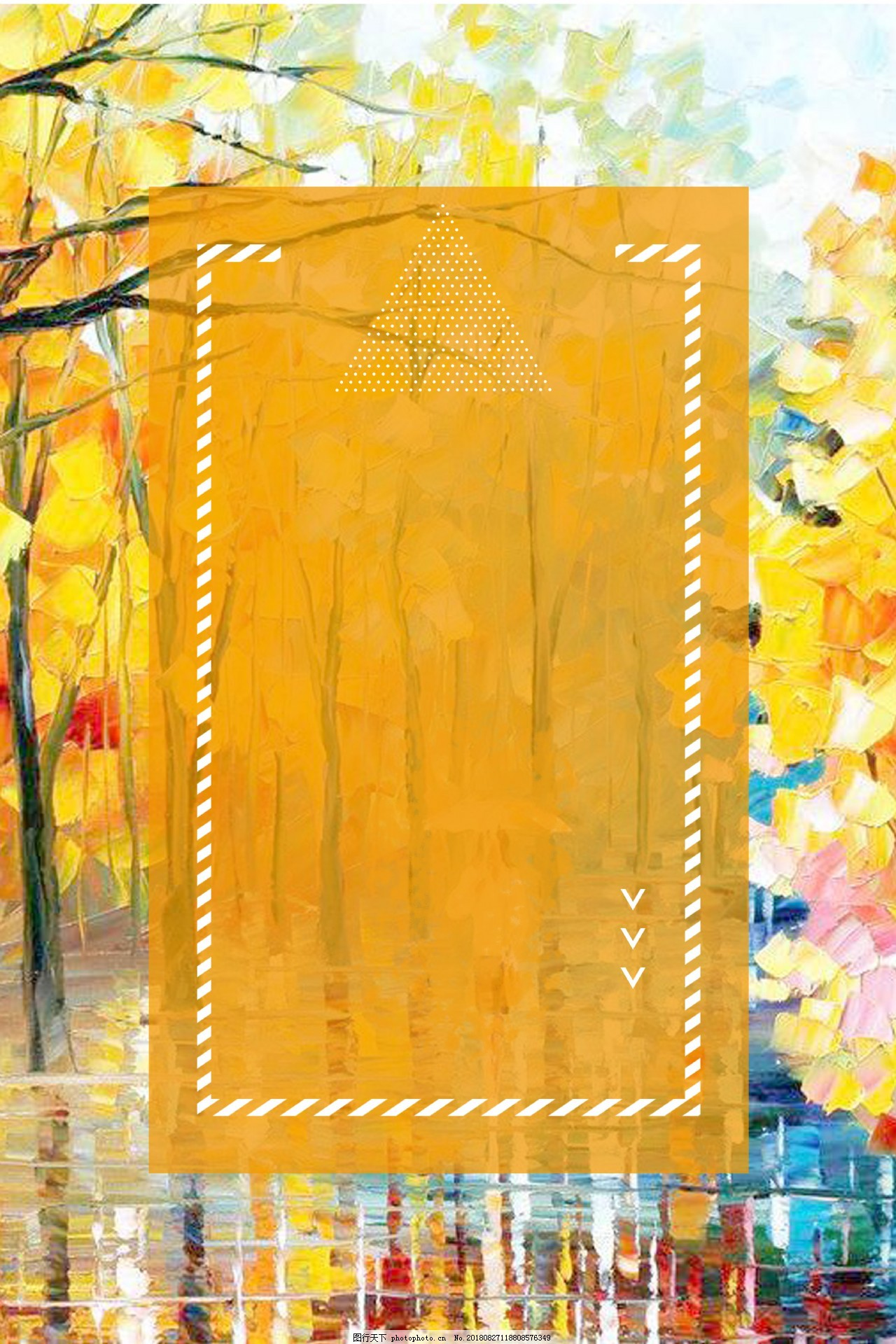 油画秋雨秋季上新背景,油画背景,简约,图形边框,促销,秋季促销