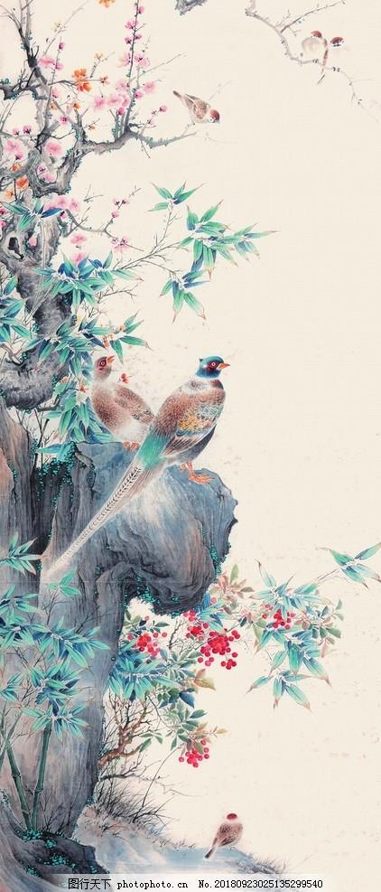 梅开五福,中堂画,国画,国画梅花,喜鹊报春,梅鹊迎春,花鸟画